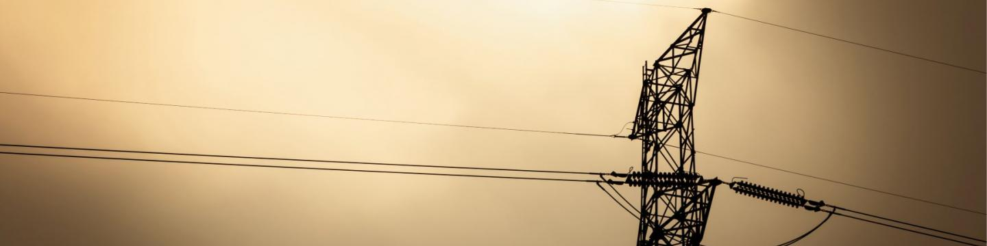 High voltage electric line with the sun