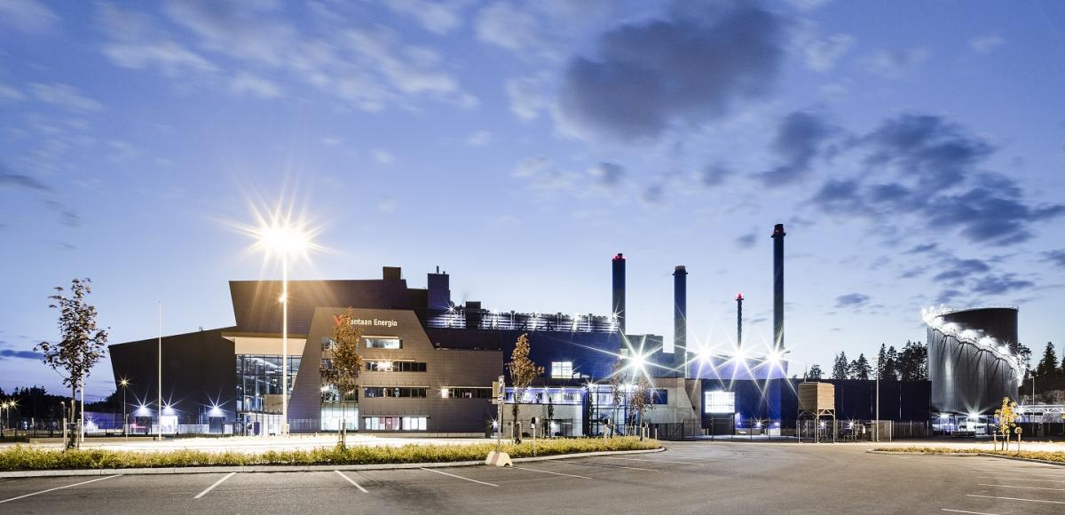 Project Site Vantaa Energy Waste to Energy Plant night scene
