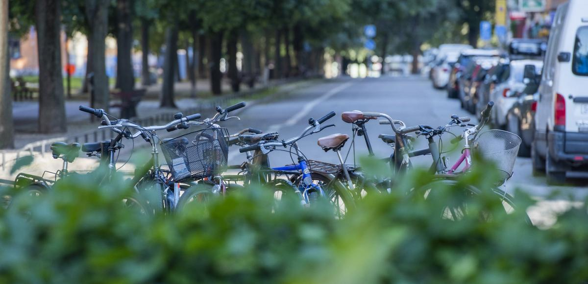 Bicycles parked next to city street