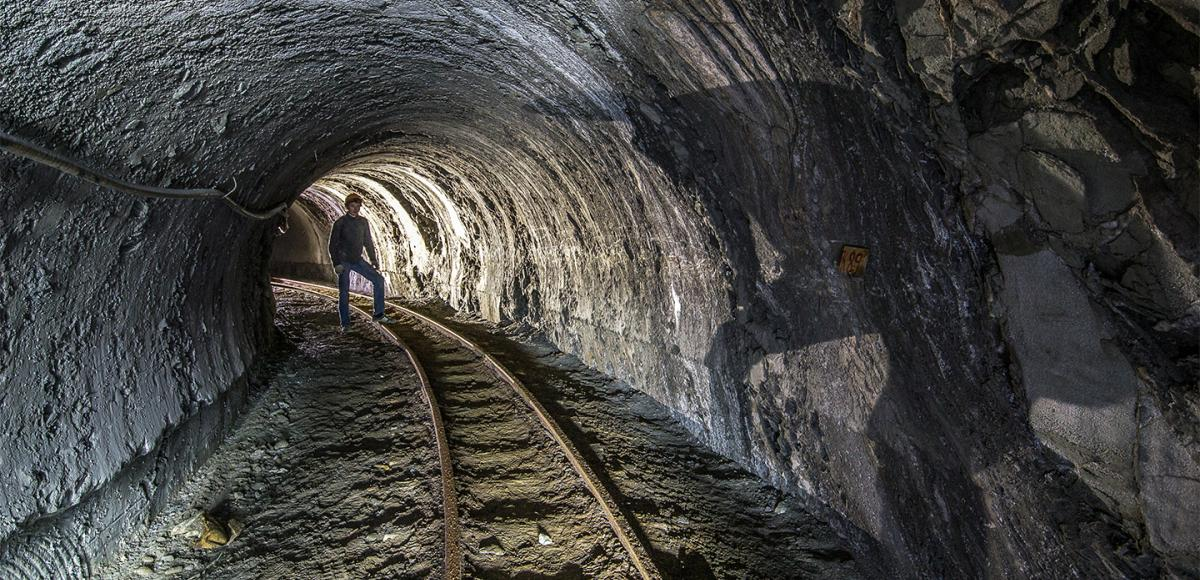 Underground mine tunnel in Ukraine