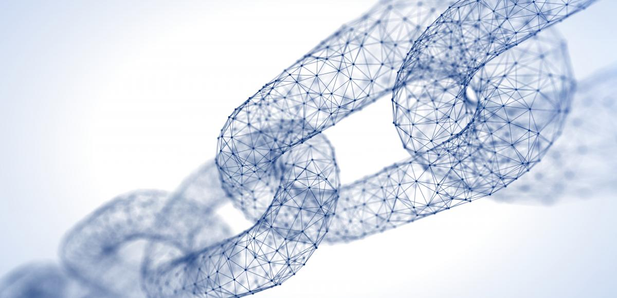 Illustration of chain links, each made of hundreds of digital connections