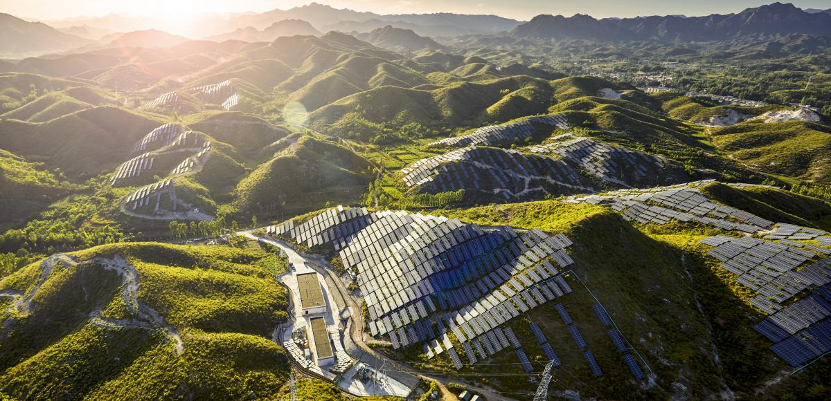 Hills in China covered in Solar panels