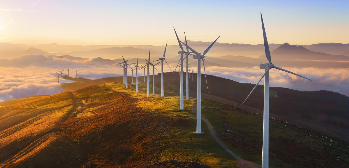Wind turbines along a hilly landscapes