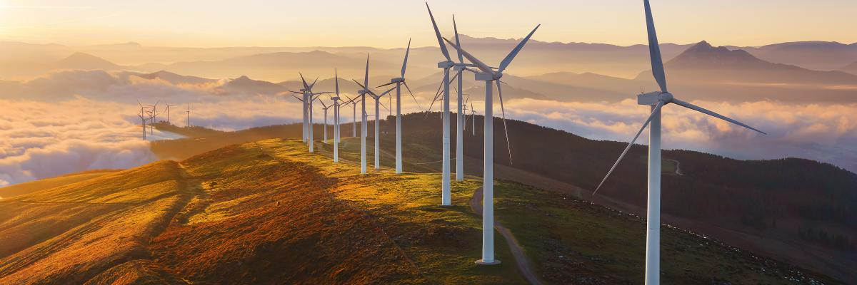 Wind turbines on a hill at sunrise