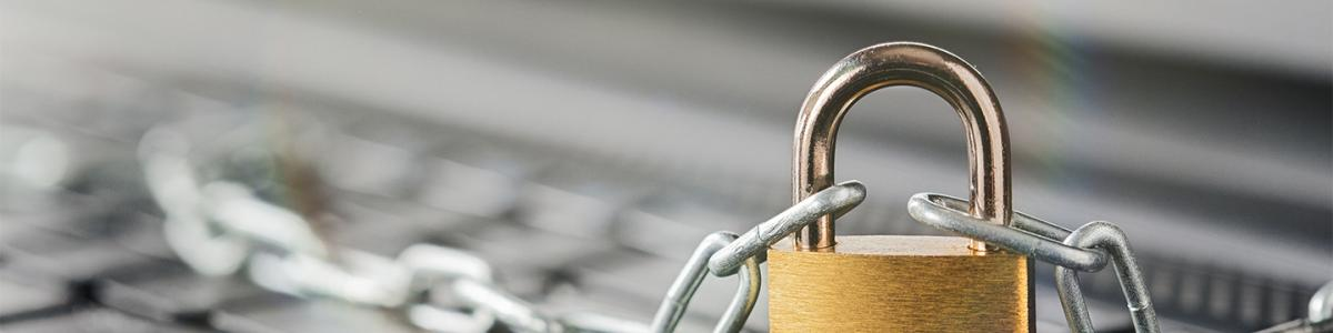 Padlock on computer keyboard. Network Security, data security and antivirus protection PC