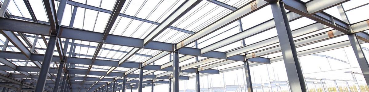 Steel frame structure in a construction site