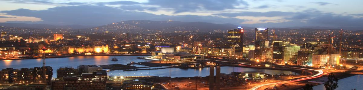Aerial view of Oslo city in the evening