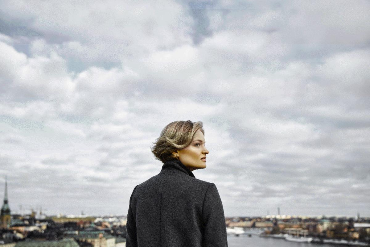 Woman looking out over Stockholm