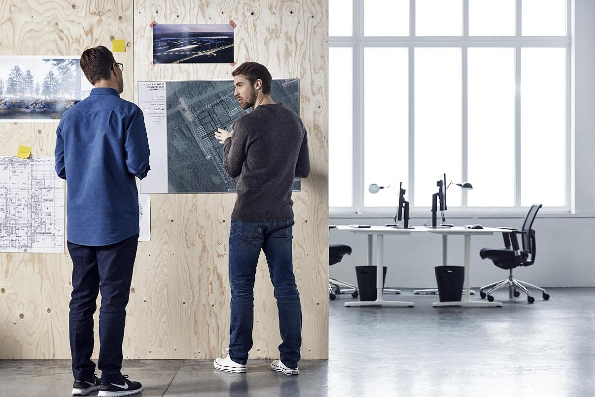 People discussing in a creative office space