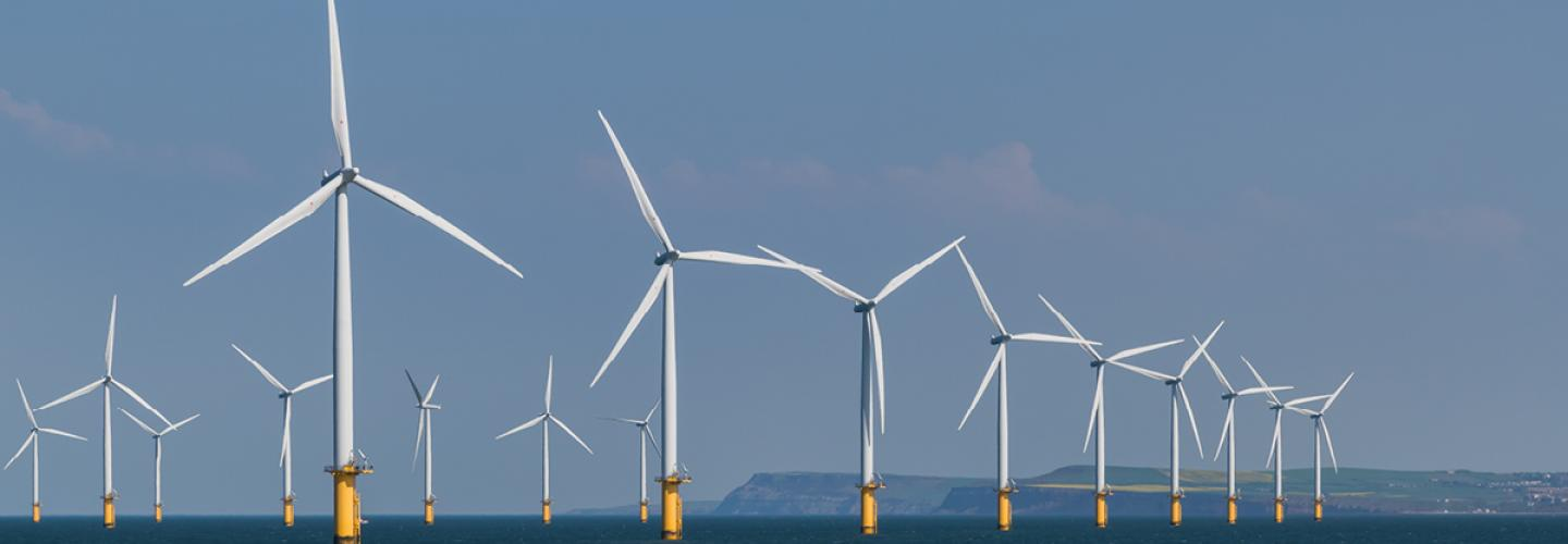 Wind farm in the North sea on the coast of United Kingdom