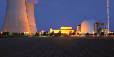 Nuclear power plant at twilight