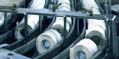 Paper plant, paper tissue rolls on conveyor line.