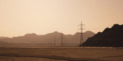 Power lines in the desert