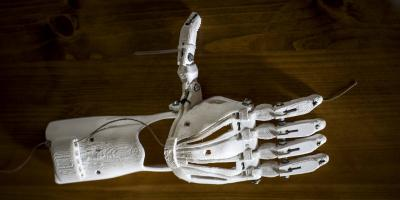 3d print prostetic skeleton hand thumbs up