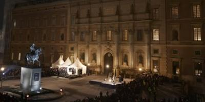 Light Bureau illuminates  Royal Palace  Stockholm 200th jubilee of the Bernadotte dynasty