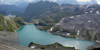 View of the two Reservoirs Emosson and Vieux Emosson