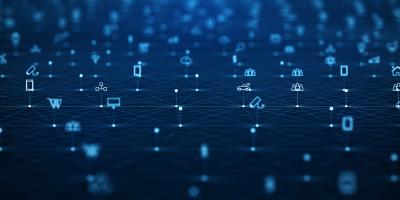 Representation of a digital landscape with icons on dark blue background