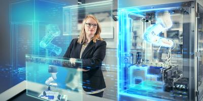 Woman in a manufacturing plant with virtual objects