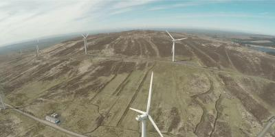 View from drone looking over wind farm in Northern Ireland