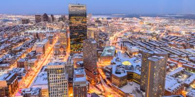 Boston in snow at dusk