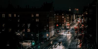 Copenhagen street scene at night