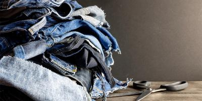 Torn jeans for textile and fashion industry, circular economy