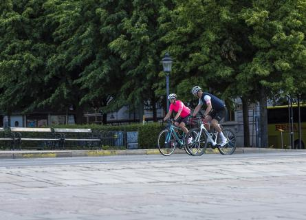 People cycling in a park