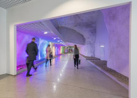 Corridor leading to a underground parking facility
