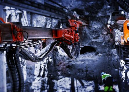 A rail tunnel being excavated using drill & blast method
