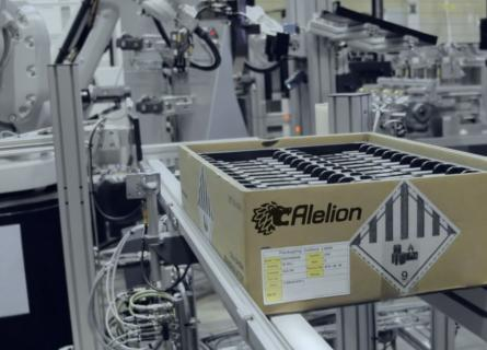 Box of Alelion batteries in a production line