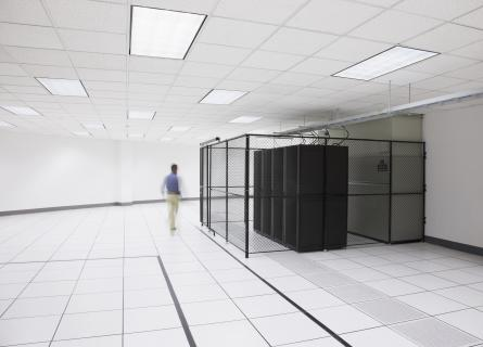 white room with fenced data storage