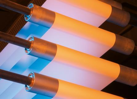 Paper production in red and blue lighting