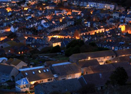 Terraced houses at night time on Portland in Dorset