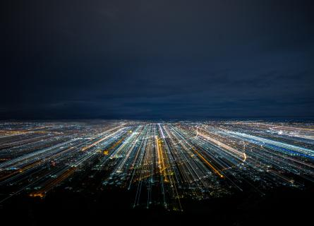 Ariel view or urban landscape at night time