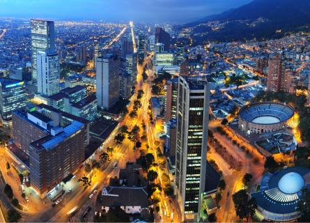 Bogota at night arial view