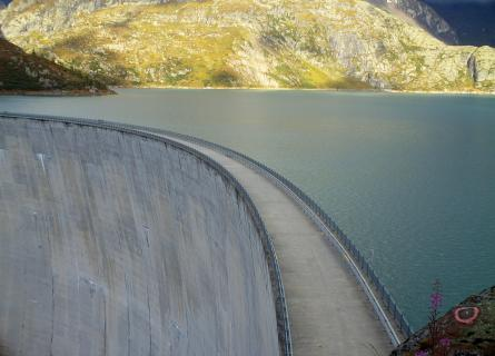 Crest of Emosson Dam and reservoir
