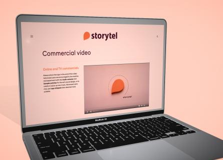 Computer showing Storytels website