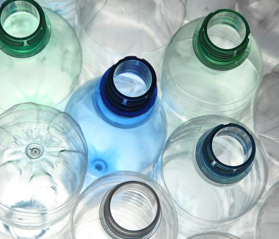 Empty plastic bottles for recycling