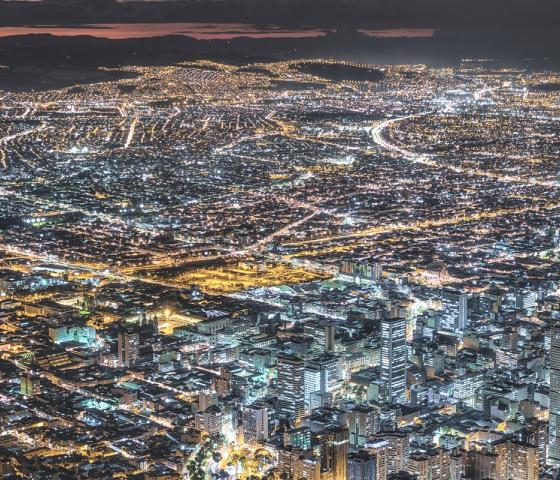 Bogota, Colombia, view of cityscape at dusk